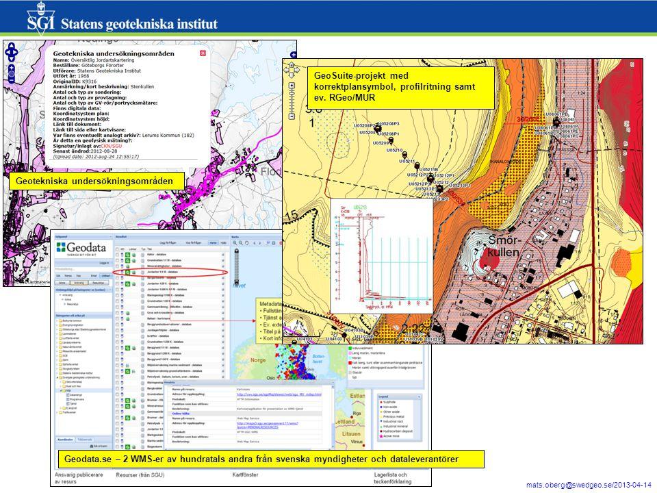 3 mats.oberg@swedgeo.se/2013-04-14 Geotekniska undersökningsområden Geodata.se – 2 WMS-er av hundratals andra från svenska myndigheter och dataleveran