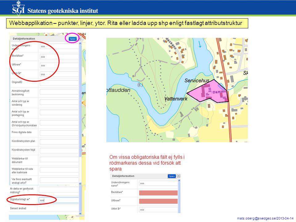 7 mats.oberg@swedgeo.se/2013-04-14 Webbapplikation – punkter, linjer, ytor.