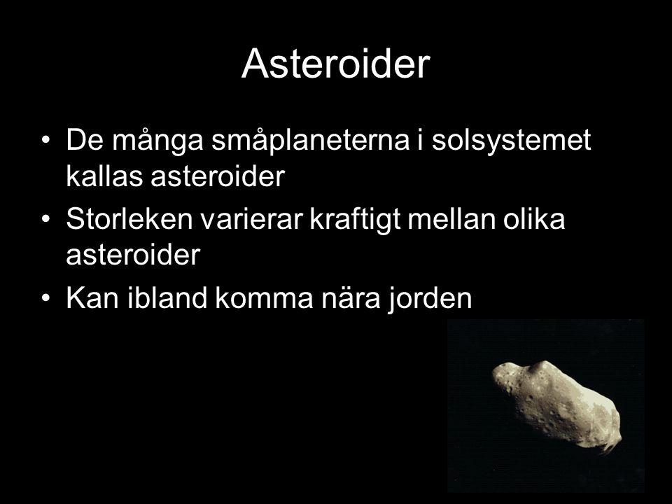 Asteroider De många småplaneterna i solsystemet kallas asteroider Storleken varierar kraftigt mellan olika asteroider Kan ibland komma nära jorden