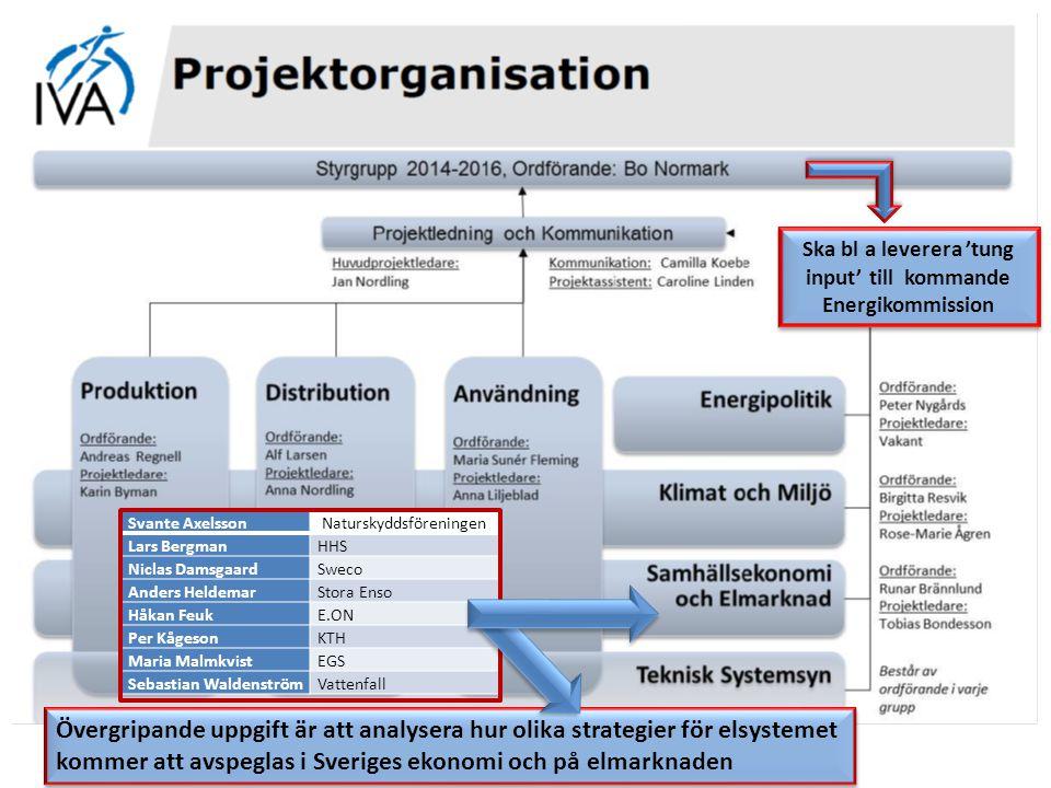 Svante AxelssonNaturskyddsföreningen Lars BergmanHHS Niclas DamsgaardSweco Anders HeldemarStora Enso Håkan FeukE.ON Per KågesonKTH Maria MalmkvistEGS Sebastian WaldenströmVattenfall Övergripande uppgift är att analysera hur olika strategier för elsystemet kommer att avspeglas i Sveriges ekonomi och på elmarknaden Övergripande uppgift är att analysera hur olika strategier för elsystemet kommer att avspeglas i Sveriges ekonomi och på elmarknaden Ska bl a leverera 'tung input' till kommande Energikommission