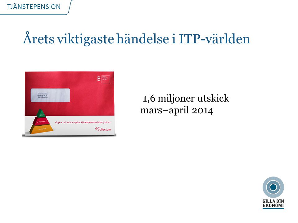 TJÄNSTEPENSION Årets viktigaste händelse i ITP-världen 1,6 miljoner utskick mars–april 2014 2015-08-152