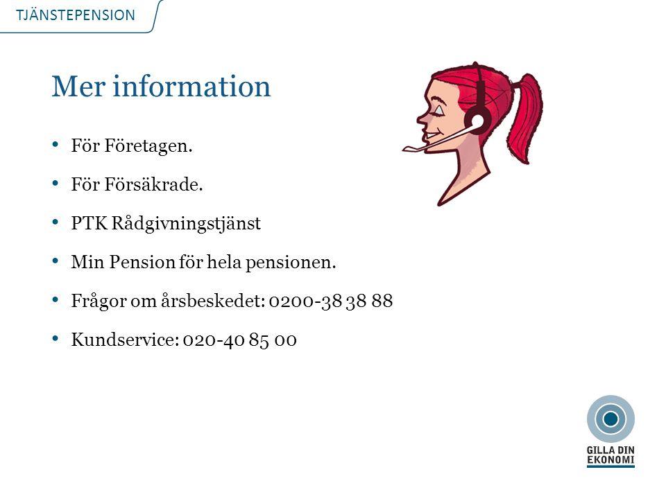 TJÄNSTEPENSION Mer information För Företagen. För Försäkrade.
