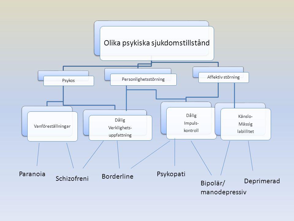 Olika psykiska sjukdomstillstånd Psykos Vanföreställningar Dålig Verklighets- uppfattning Personlighetsstörning Affektiv störning Dålig Impuls- kontro