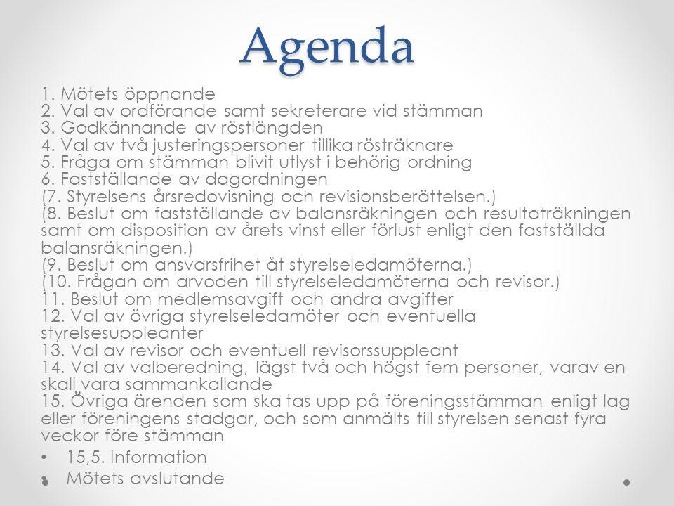 Agenda 1. Mötets öppnande 2. Val av ordförande samt sekreterare vid stämman 3. Godkännande av röstlängden 4. Val av två justeringspersoner tillika rös