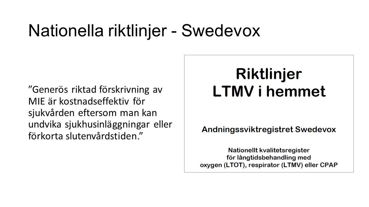 Användning i Region Kronoberg Ca 15 patienter Teambedömning och –utprovning Lungläkare Intensivvårdsläkare Sjukgymnast Neurolog Goda erfarenheter hos rätt utvalda patienter