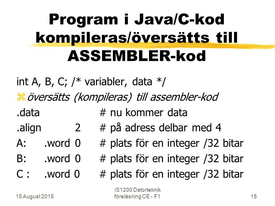 15 August 2015 IS1200 Datorteknik föreläsning CE - F115 Program i Java/C-kod kompileras/översätts till ASSEMBLER-kod int A, B, C;/* variabler, data */ zöversätts (kompileras) till assembler-kod.data# nu kommer data.align 2# på adress delbar med 4 A:.word 0# plats för en integer /32 bitar B:.word 0# plats för en integer /32 bitar C :.word 0# plats för en integer /32 bitar