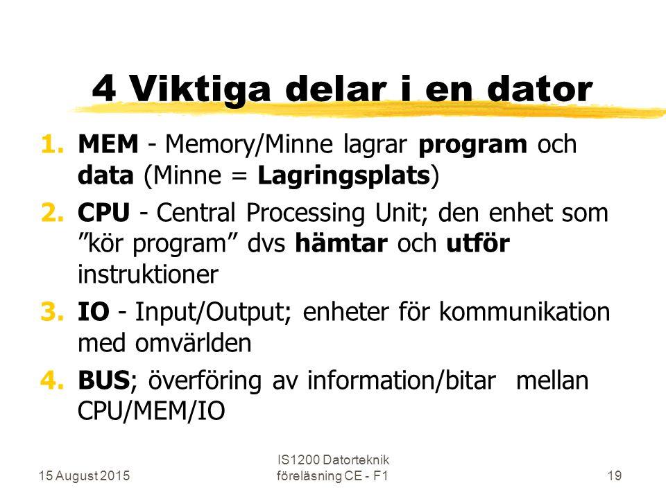 15 August 2015 IS1200 Datorteknik föreläsning CE - F119 4 Viktiga delar i en dator 1.MEM - Memory/Minne lagrar program och data (Minne = Lagringsplats) 2.CPU - Central Processing Unit; den enhet som kör program dvs hämtar och utför instruktioner 3.IO - Input/Output; enheter för kommunikation med omvärlden 4.BUS; överföring av information/bitar mellan CPU/MEM/IO