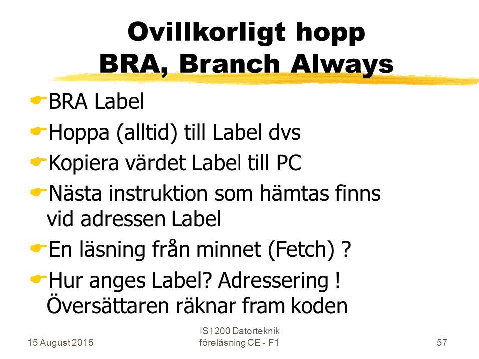 15 August 2015 IS1200 Datorteknik föreläsning CE - F157 Ovillkorligt hopp BRA, Branch Always  BRA Label  Hoppa (alltid) till Label dvs  Kopiera värdet Label till PC  Nästa instruktion som hämtas finns vid adressen Label  En läsning från minnet (Fetch) .