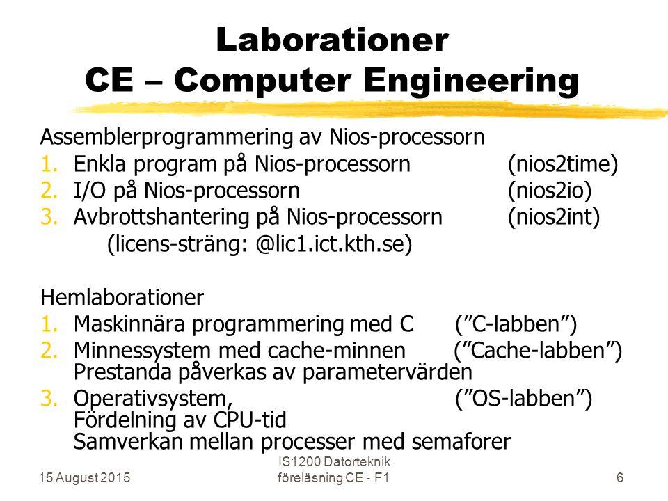 15 August 2015 IS1200 Datorteknik föreläsning CE - F16 Laborationer CE – Computer Engineering Assemblerprogrammering av Nios-processorn 1.Enkla program på Nios-processorn (nios2time) 2.I/O på Nios-processorn (nios2io) 3.Avbrottshantering på Nios-processorn (nios2int) (licens-sträng: @lic1.ict.kth.se) Hemlaborationer 1.Maskinnära programmering med C ( C-labben ) 2.Minnessystem med cache-minnen ( Cache-labben ) Prestanda påverkas av parametervärden 3.Operativsystem, ( OS-labben ) Fördelning av CPU-tid Samverkan mellan processer med semaforer