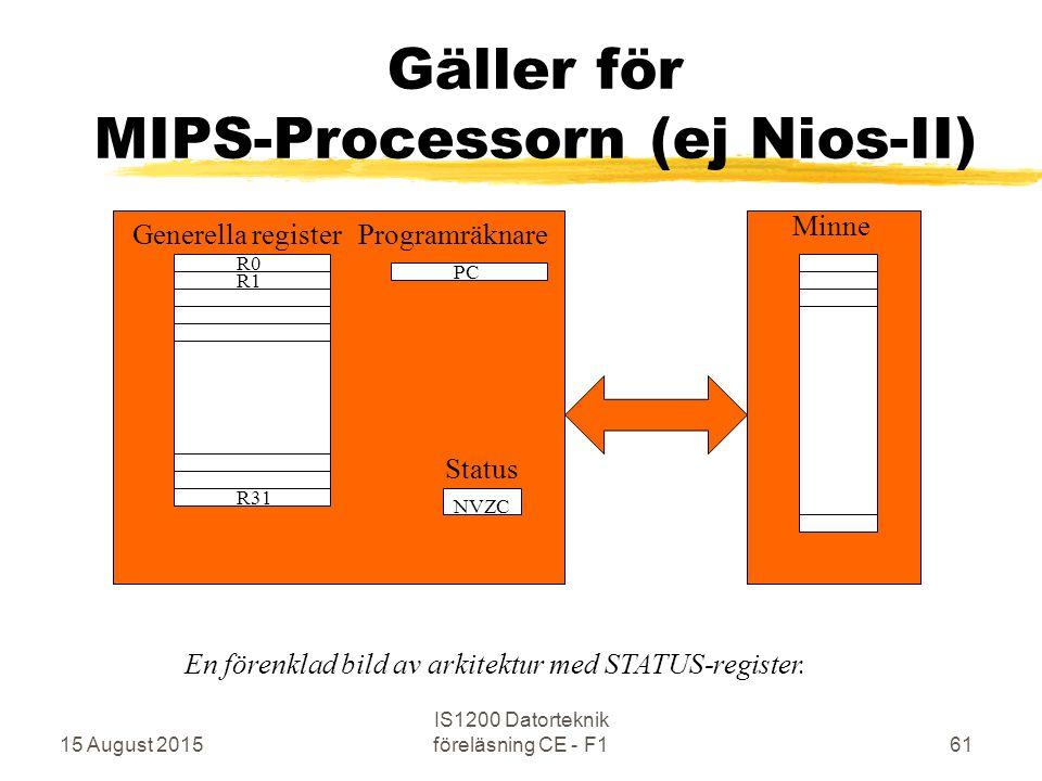 15 August 2015 IS1200 Datorteknik föreläsning CE - F161 Gäller för MIPS-Processorn (ej Nios-II) R0 R31 R1 PC Minne Generella registerProgramräknare NVZC Status En förenklad bild av arkitektur med STATUS-register.