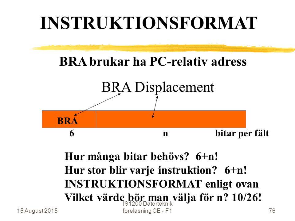 15 August 2015 IS1200 Datorteknik föreläsning CE - F176 BRA brukar ha PC-relativ adress BRA Displacement BRA INSTRUKTIONSFORMAT 6 n bitar per fält Hur många bitar behövs.