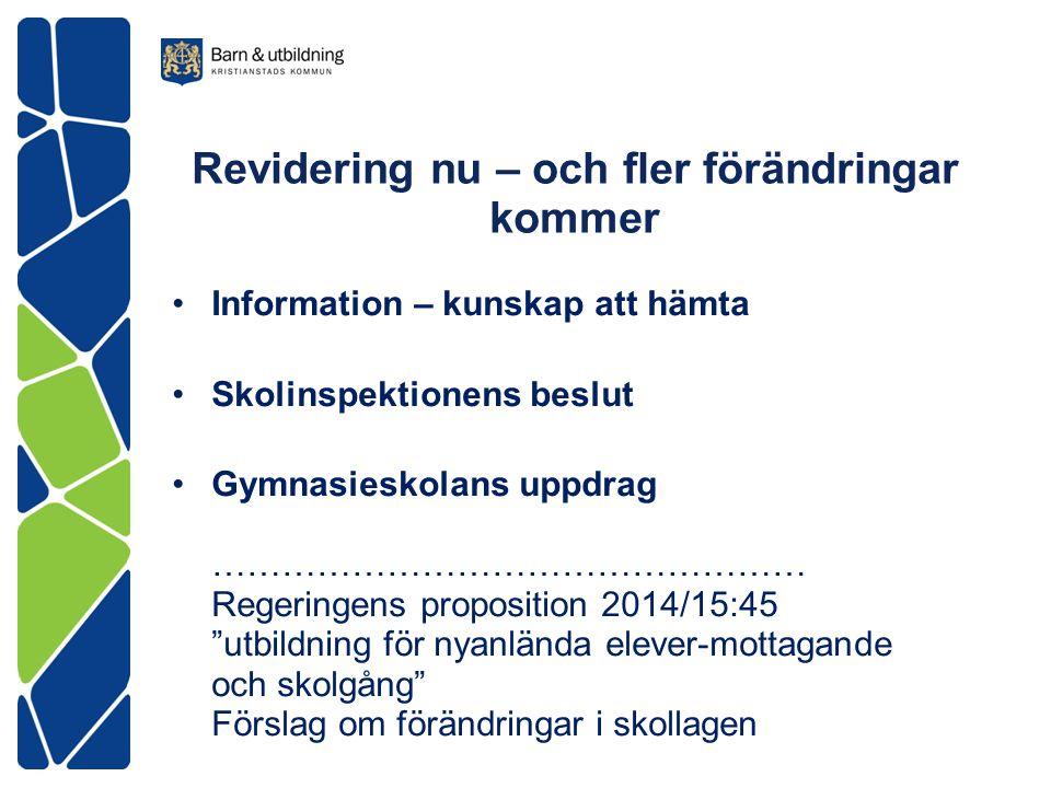 Revidering nu – och fler förändringar kommer Information – kunskap att hämta Skolinspektionens beslut Gymnasieskolans uppdrag …………………………………………… Regeri