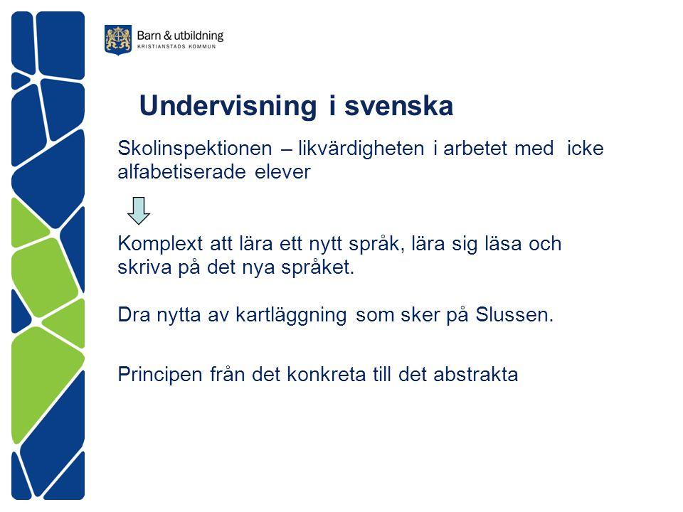 Undervisning i svenska Skolinspektionen – likvärdigheten i arbetet med icke alfabetiserade elever Komplext att lära ett nytt språk, lära sig läsa och