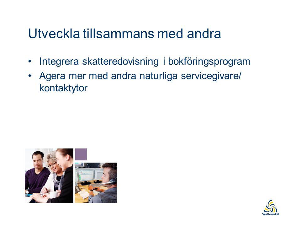Utveckla tillsammans med andra Integrera skatteredovisning i bokföringsprogram Agera mer med andra naturliga servicegivare/ kontaktytor