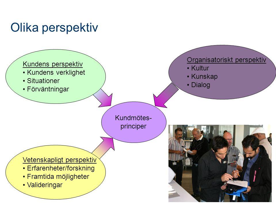 Olika perspektiv Kundmötes- principer Vetenskapligt perspektiv Erfarenheter/forskning Framtida möjligheter Valideringar Kundens perspektiv Kundens verklighet Situationer Förväntningar Organisatoriskt perspektiv Kultur Kunskap Dialog