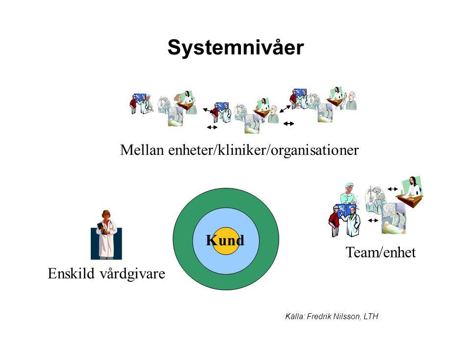 Systemnivåer Mellan enheter/kliniker/organisationer Källa: Fredrik Nilsson, LTH Enskild vårdgivare Team/enhet Kund