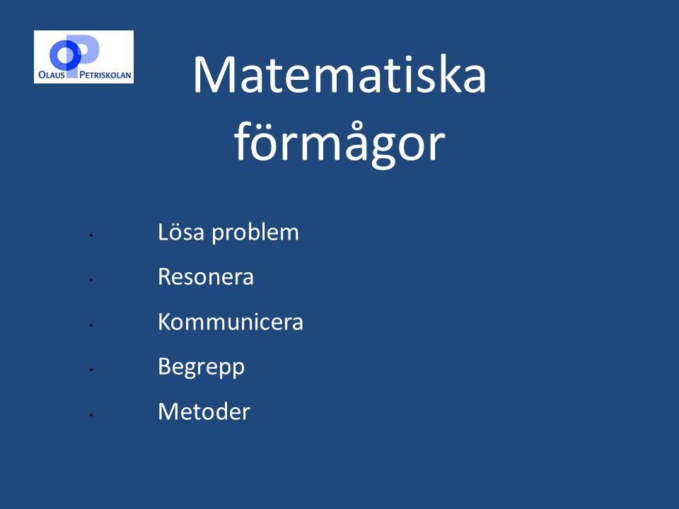 Matematiska förmågor Lösa problem Resonera Kommunicera Begrepp Metoder