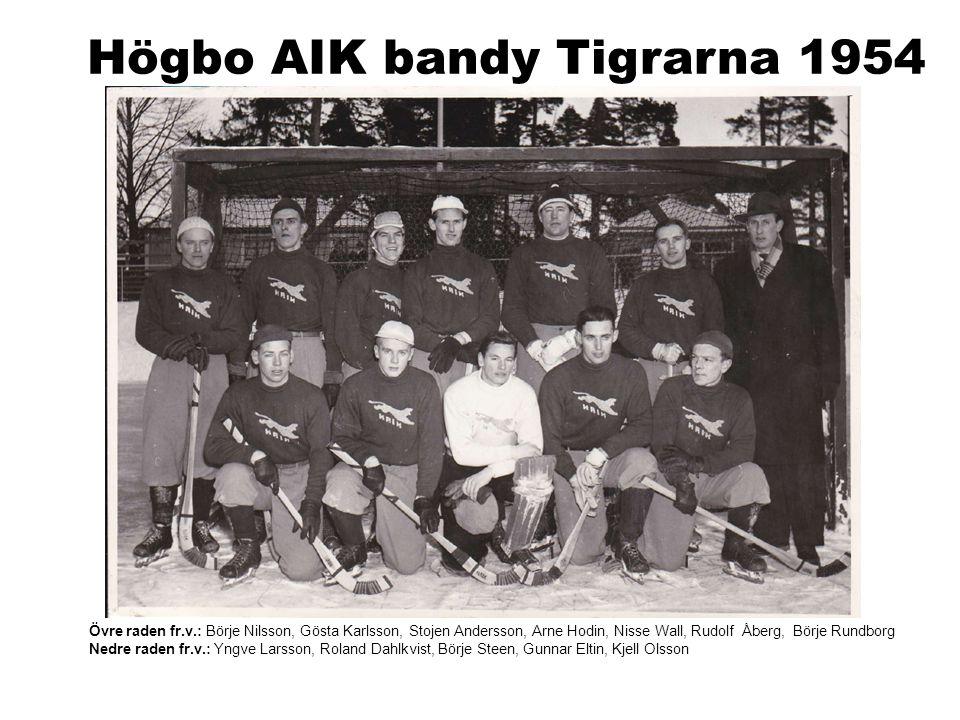 Högbo AIK bandy Tigrarna 1954 Övre raden fr.v.: Börje Nilsson, Gösta Karlsson, Stojen Andersson, Arne Hodin, Nisse Wall, Rudolf Åberg, Börje Rundborg