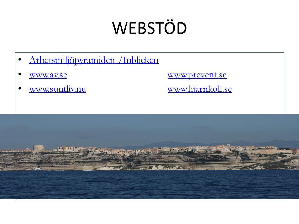 WEBSTÖD Arbetsmiljöpyramiden /Inblicken www.av.sewww.prevent.se www.av.sewww.prevent.se www.suntliv.nuwww.hjarnkoll.se www.suntliv.nuwww.hjarnkoll.se