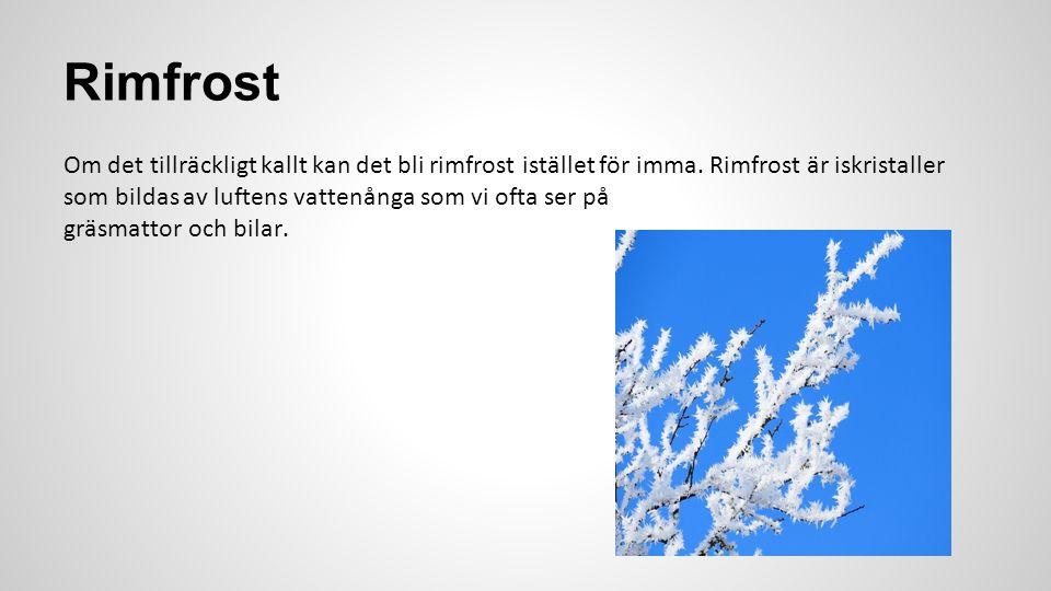 Rimfrost Om det tillräckligt kallt kan det bli rimfrost istället för imma. Rimfrost är iskristaller som bildas av luftens vattenånga som vi ofta ser p