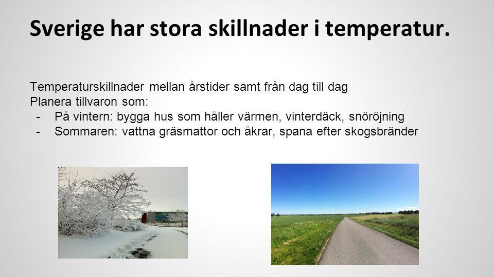 Sverige har stora skillnader i temperatur. Temperaturskillnader mellan årstider samt från dag till dag Planera tillvaron som: -På vintern: bygga hus s