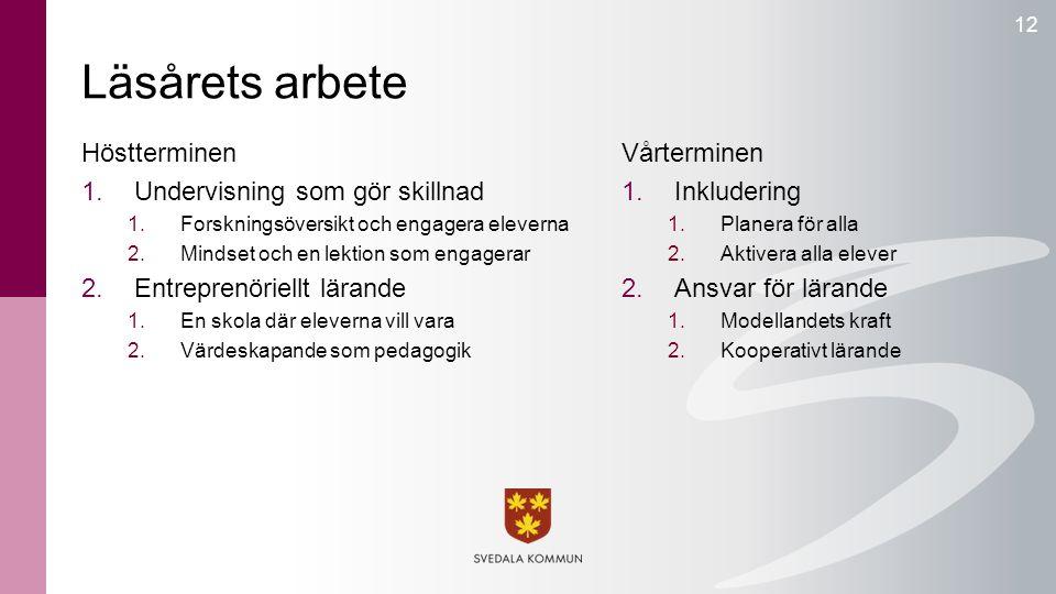 Läsårets arbete 12 Höstterminen 1.Undervisning som gör skillnad 1.Forskningsöversikt och engagera eleverna 2.Mindset och en lektion som engagerar 2.En