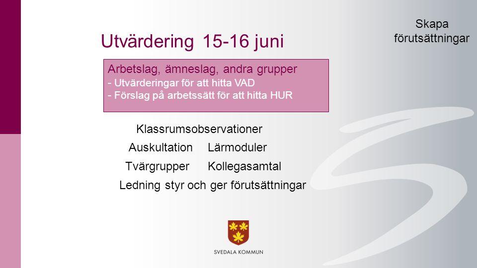 AuskultationLärmoduler Klassrumsobservationer Tvärgrupper Ledning styr och ger förutsättningar Kollegasamtal Utvärdering 15-16 juni Arbetslag, ämnesla
