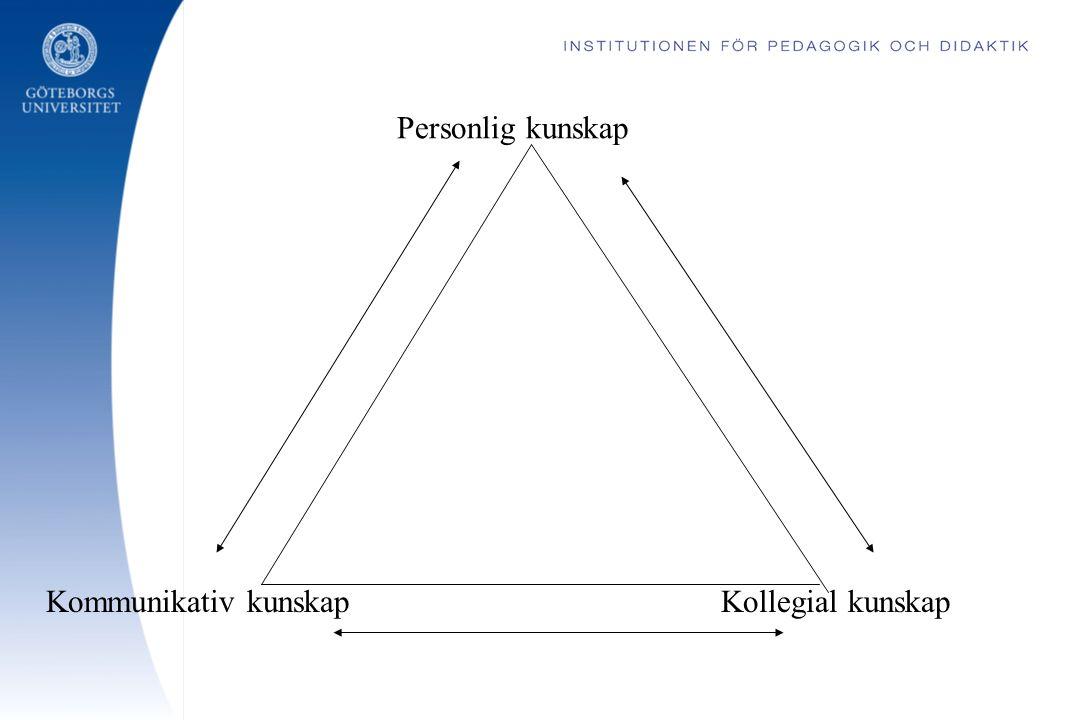 Personlig kunskap Kollegial kunskapKommunikativ kunskap