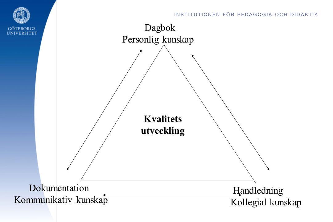 Dagbok Personlig kunskap Handledning Kollegial kunskap Dokumentation Kommunikativ kunskap Kvalitets utveckling