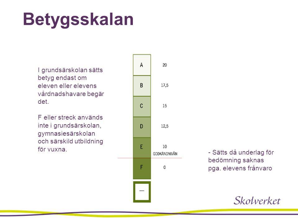 Betygsskalan I grundsärskolan sätts betyg endast om eleven eller elevens vårdnadshavare begär det.