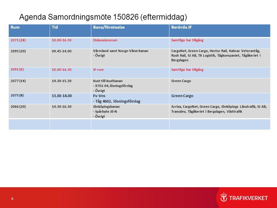6 Agenda Samordningsmöte 150826 (eftermiddag) RumTidBana/företeelseBerörda JF 2071 (28)10.00-16.30Diskussionsrum Samtliga har tillgång 2095 (20)09.45-