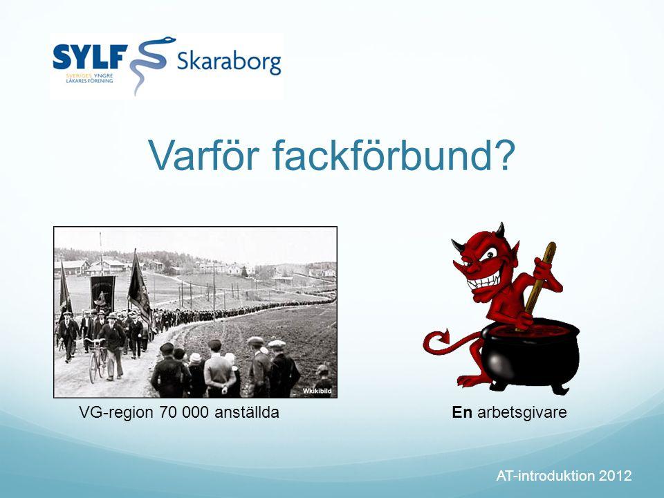 Varför fackförbund? AT-introduktion 2012 VG-region 70 000 anställdaEn arbetsgivare