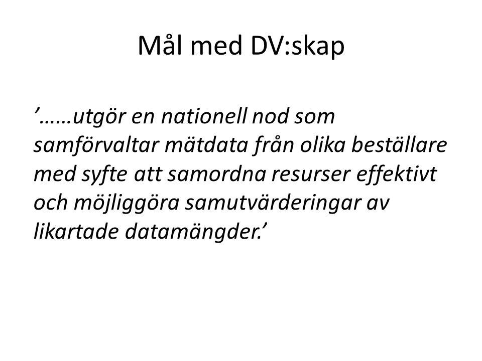 Mål med DV:skap '……utgör en nationell nod som samförvaltar mätdata från olika beställare med syfte att samordna resurser effektivt och möjliggöra samu