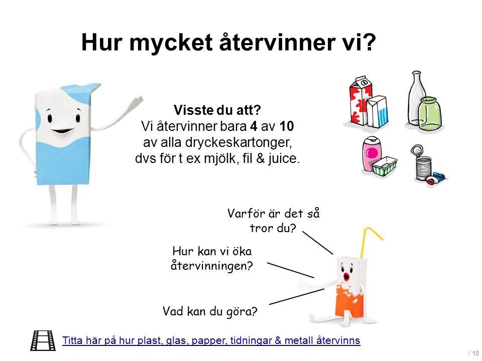 / 10 Hur mycket återvinner vi? Visste du att? Vi återvinner bara 4 av 10 av alla dryckeskartonger, dvs för t ex mjölk, fil & juice. Hur kan vi öka åte