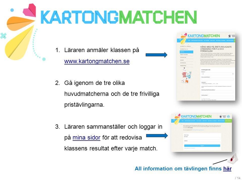 / 14 1.Läraren anmäler klassen på www.kartongmatchen.se www.kartongmatchen.se 2.Gå igenom de tre olika huvudmatcherna och de tre frivilliga pristävlin
