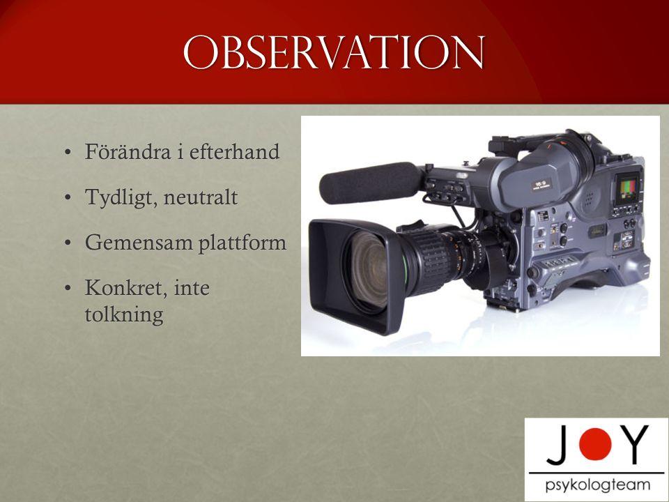 Observation Förändra i efterhandFörändra i efterhand Tydligt, neutraltTydligt, neutralt Gemensam plattformGemensam plattform Konkret, inte tolkningKonkret, inte tolkning