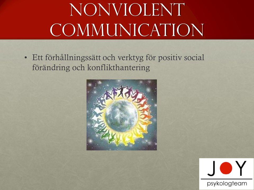 Nonviolent communication Ett förhållningssätt och verktyg för positiv social förändring och konflikthanteringEtt förhållningssätt och verktyg för positiv social förändring och konflikthantering