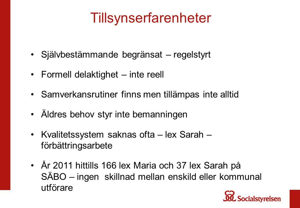 Tillsynserfarenheter Självbestämmande begränsat – regelstyrt Formell delaktighet – inte reell Samverkansrutiner finns men tillämpas inte alltid Äldres behov styr inte bemanningen Kvalitetssystem saknas ofta – lex Sarah – förbättringsarbete År 2011 hittills 166 lex Maria och 37 lex Sarah på SÄBO – ingen skillnad mellan enskild eller kommunal utförare