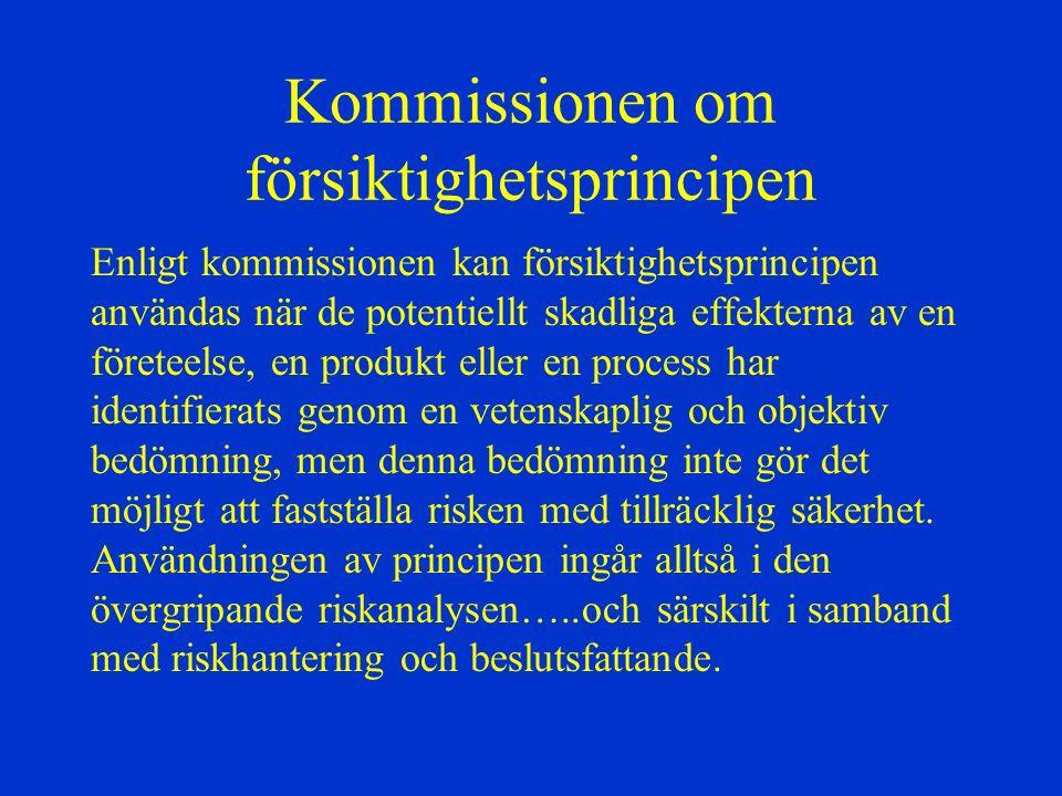 Kommissionen om försiktighetsprincipen Enligt kommissionen kan försiktighetsprincipen användas när de potentiellt skadliga effekterna av en företeelse