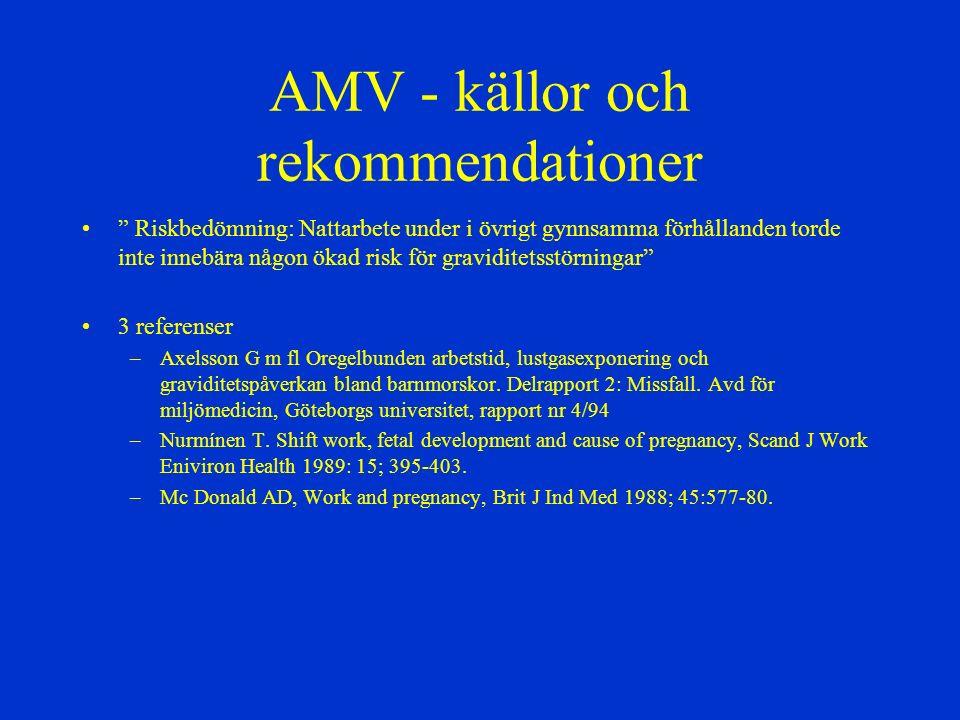 """AMV - källor och rekommendationer """" Riskbedömning: Nattarbete under i övrigt gynnsamma förhållanden torde inte innebära någon ökad risk för graviditet"""