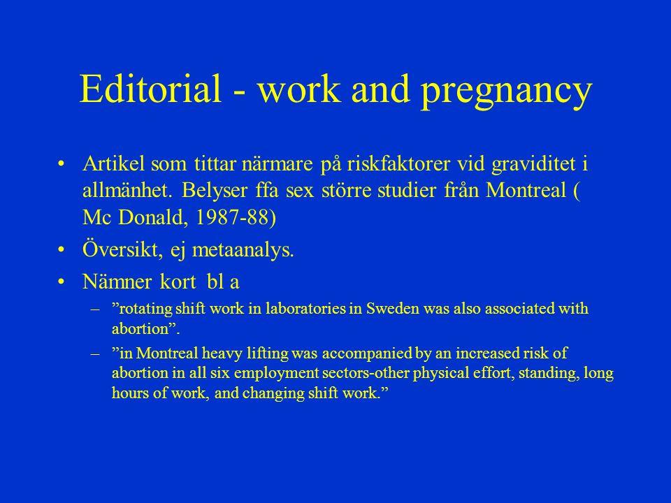 Editorial - work and pregnancy Artikel som tittar närmare på riskfaktorer vid graviditet i allmänhet. Belyser ffa sex större studier från Montreal ( M