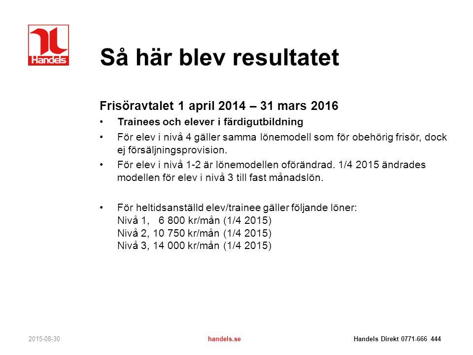 Så här blev resultatet 2015-08-30handels.se Handels Direkt 0771-666 444 Frisöravtalet 1 april 2014 – 31 mars 2016 Trainees och elever i färdigutbildni