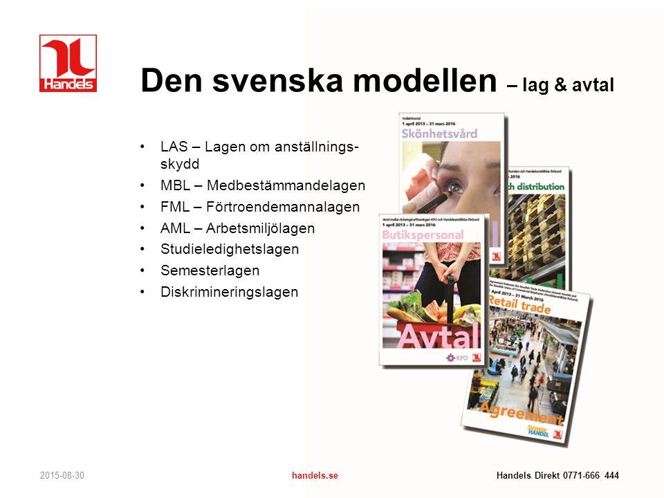 Den svenska modellen – lag & avtal 2015-08-30handels.se Handels Direkt 0771-666 444 LAS – Lagen om anställnings- skydd MBL – Medbestämmandelagen FML –