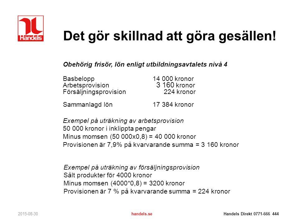 Det gör skillnad att göra gesällen! 2015-08-30handels.se Handels Direkt 0771-666 444 Obehörig frisör, lön enligt utbildningsavtalets nivå 4 Basbelopp1