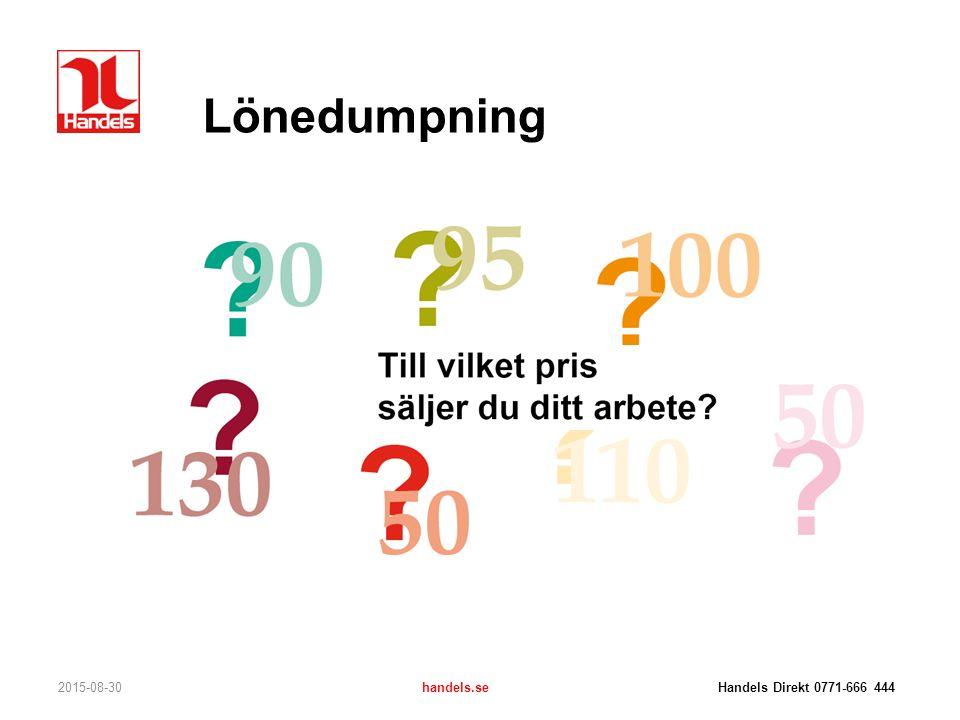 Lönedumpning 2015-08-30handels.se Handels Direkt 0771-666 444