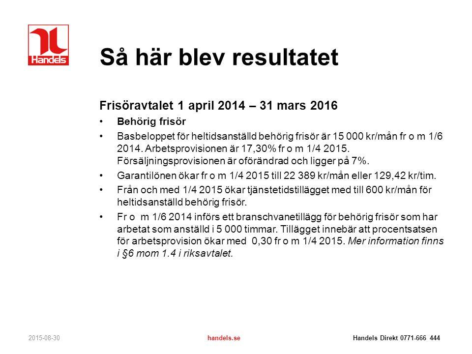 Så här blev resultatet 2015-08-30handels.se Handels Direkt 0771-666 444 Frisöravtalet 1 april 2014 – 31 mars 2016 Obehörig frisör Basbeloppet för heltidsanställd obehörig frisör är 14 000 kr/mån fr o m 1/4 2015.