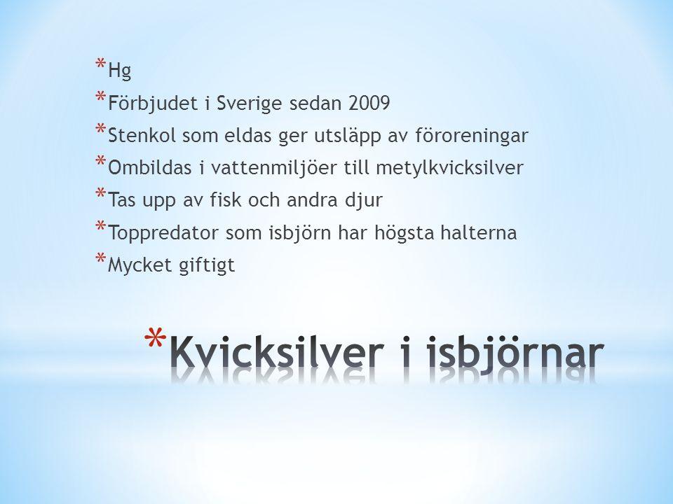 * Hg * Förbjudet i Sverige sedan 2009 * Stenkol som eldas ger utsläpp av föroreningar * Ombildas i vattenmiljöer till metylkvicksilver * Tas upp av fisk och andra djur * Toppredator som isbjörn har högsta halterna * Mycket giftigt