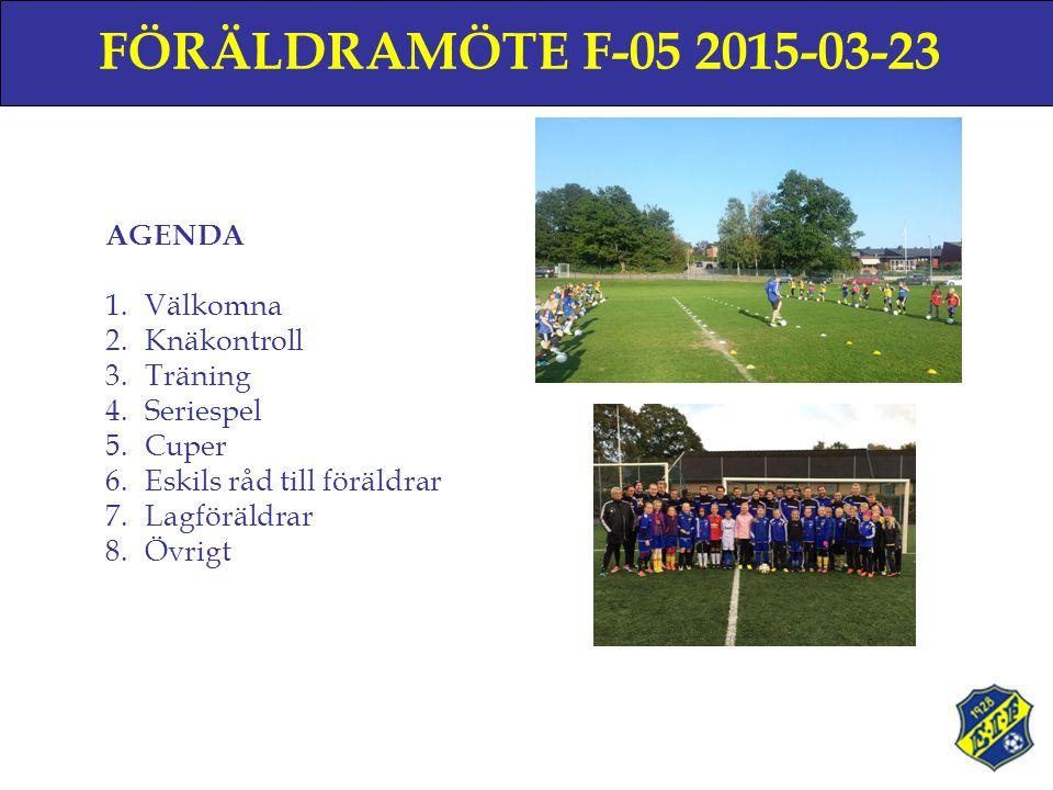 FÖRÄLDRAMÖTE F-05 2015-03-23 AGENDA 1.Välkomna 2.Knäkontroll 3.Träning 4.Seriespel 5.Cuper 6.Eskils råd till föräldrar 7.Lagföräldrar 8.Övrigt