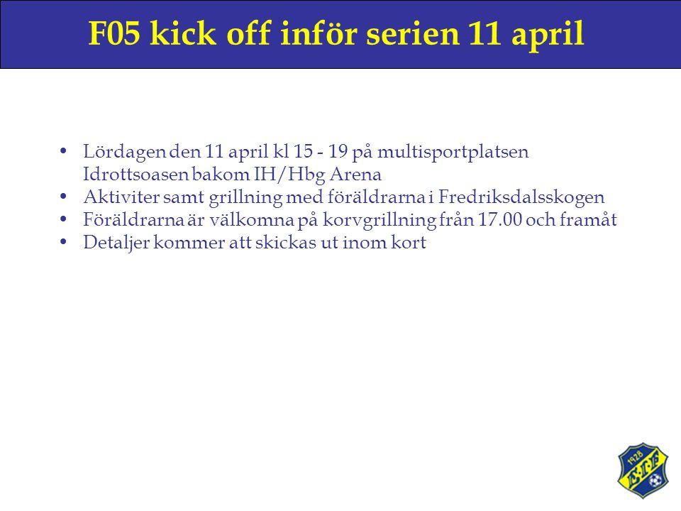 F05 kick off inför serien 11 april Lördagen den 11 april kl 15 - 19 på multisportplatsen Idrottsoasen bakom IH/Hbg Arena Aktiviter samt grillning med föräldrarna i Fredriksdalsskogen Föräldrarna är välkomna på korvgrillning från 17.00 och framåt Detaljer kommer att skickas ut inom kort