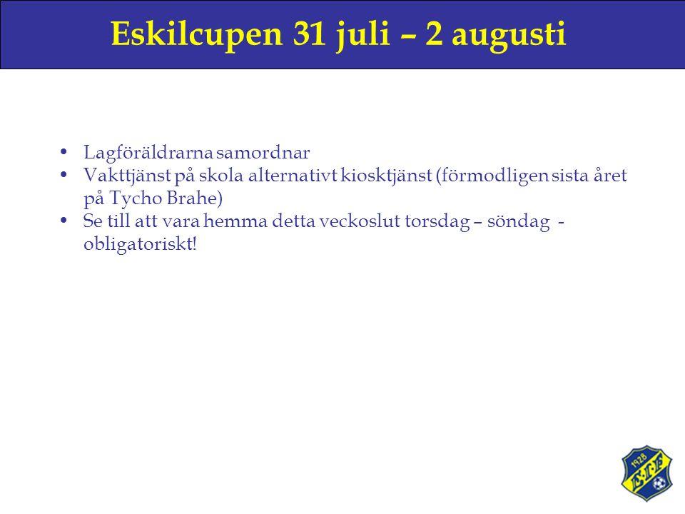 Eskilcupen 31 juli – 2 augusti Lagföräldrarna samordnar Vakttjänst på skola alternativt kiosktjänst (förmodligen sista året på Tycho Brahe) Se till att vara hemma detta veckoslut torsdag – söndag - obligatoriskt!